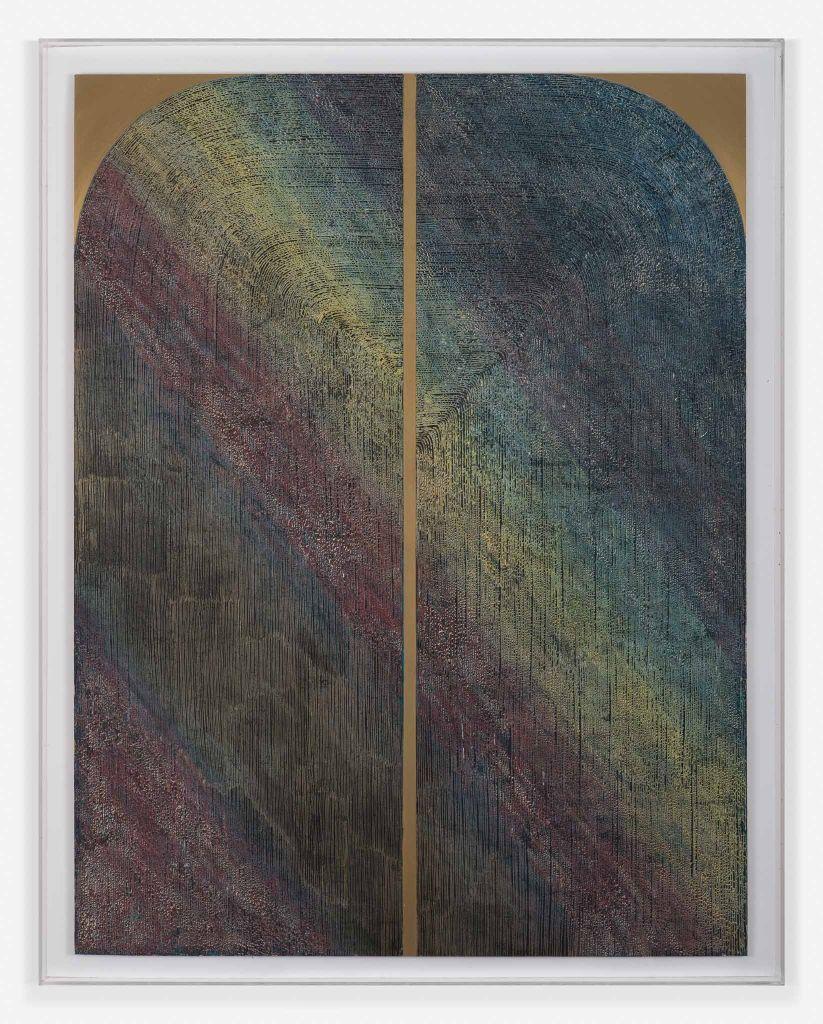 Colomba Fontaine, Serie 3, 2016, esmalte sintético y cera sobre aluminio. Cortesía de la artista