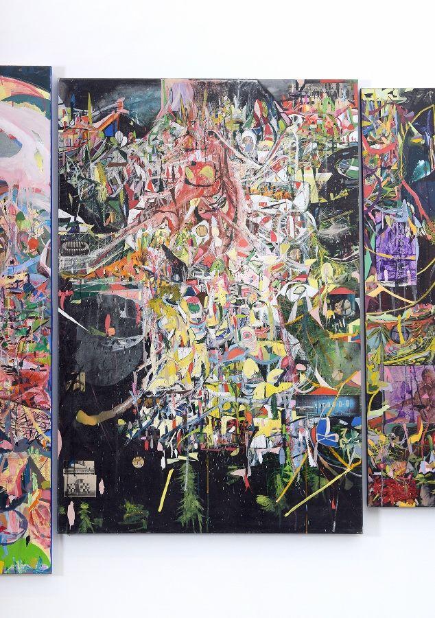 Claudio Herrera, detalle de polítptico, 2016, óleo sobre tela. Vista de la exposición en la galería del Centro de Extensión de la Universidad Católica de Santiago de Chile, 2017. Foto: ionlab.co