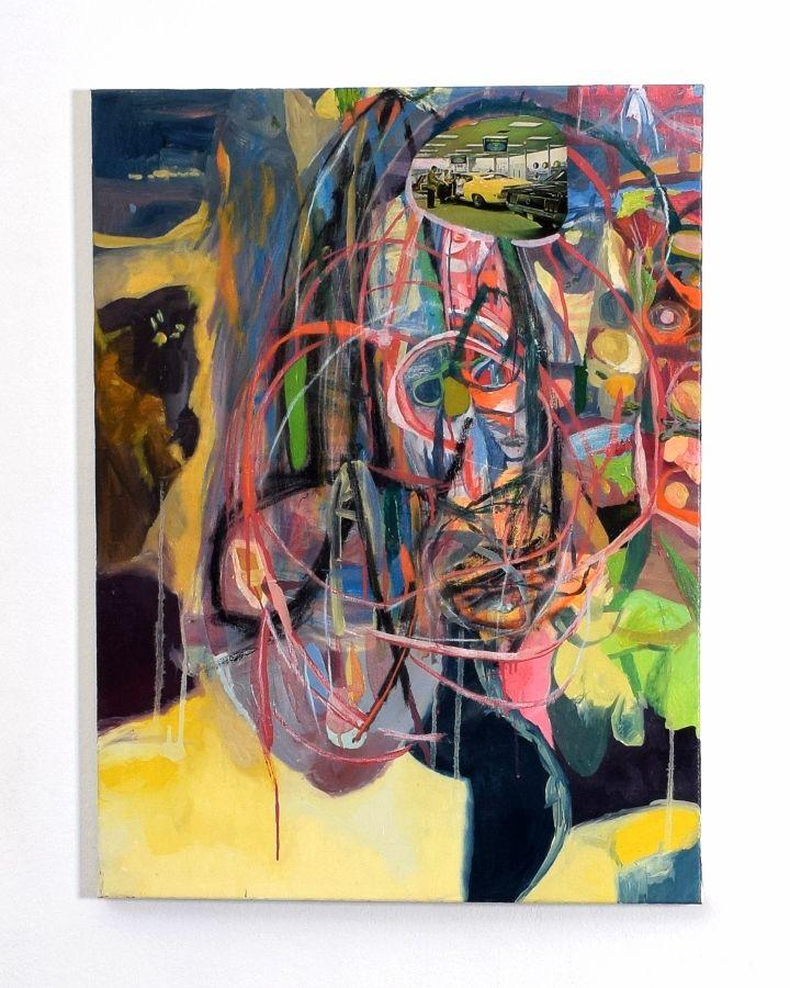 Claudio Herrera, óleo sobre tela, 2016. Vista de la exposición en la galería del Centro de Extensión de la Universidad Católica de Santiago de Chile, 2017. Foto: ionlab.co