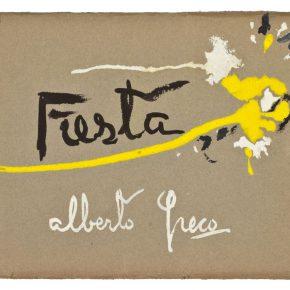 Alberto Greco, Fiesta, compilado de 32 carillas de 15,5 x 17,5 cm, tapa en tempera y esmalte sobre cartón, 1950. En Del Infinito