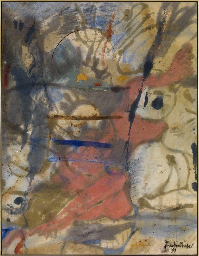 Helen Frankenthaler, Europa, 1957. Óleo sobre lienzo, 177,8 x 138,4 cm. Helen Frankenthaler Foundation, Nueva York © Helen Frankenthaler / VEGAP, Bilbao, 2016 Foto: Robert McKeever