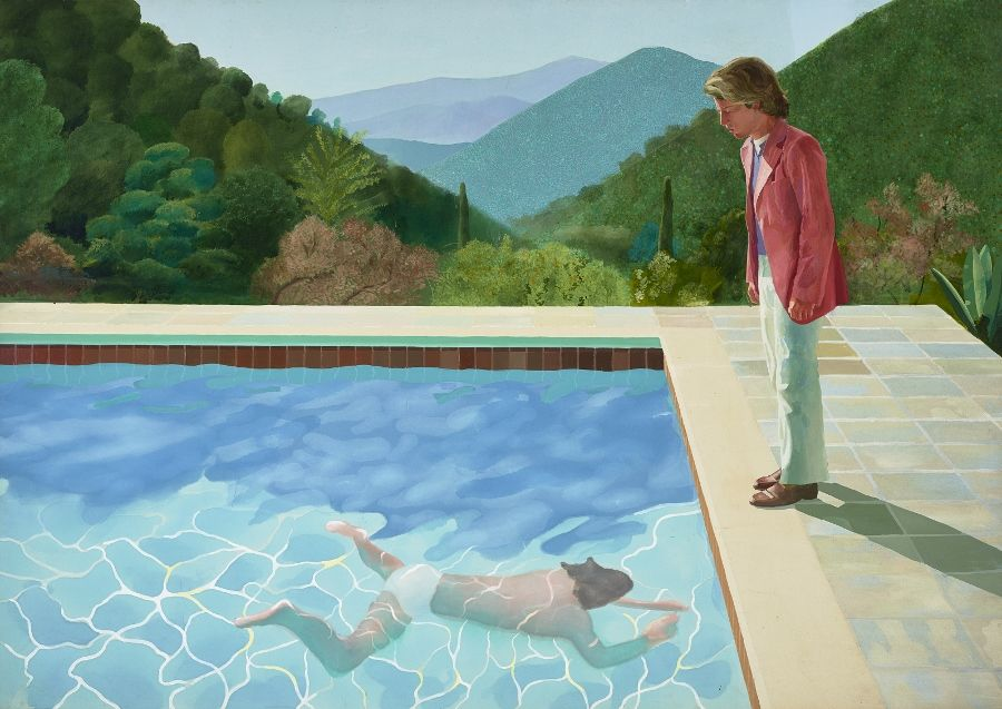 David Hockney, Portrait of an Artist (Pool with Two Figures), 1972, acrílico sobre tela, 2140 x 3048 mm. Lewis Collection © David Hockney. Foto: Art Gallery of New South Wales / Jenni Carter