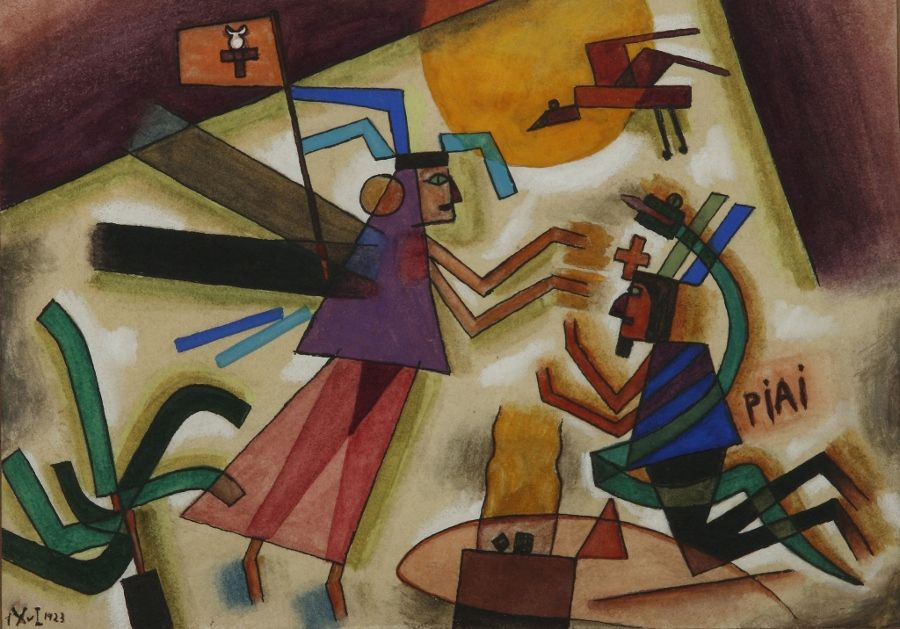 """Alejandro Xul Solar, """"Piai"""", 1923. Acuarela sobre papel, 15 x 21 cm. Con marco: 51 x 53 cm. Colección Museo Nacional de Bellas Artes. Gentileza Fundación Pan Klub - Museo Xul Solar."""