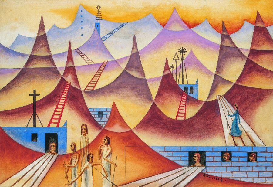 "Alejandro Xul Solar, ""Contrapunto de puntas"", 1948. Acuarela y gouache sobre papel sobre cartón, 35 x 50 cm. Colección particular. Gentileza Fundación Pan Klub - Museo Xul Solar."