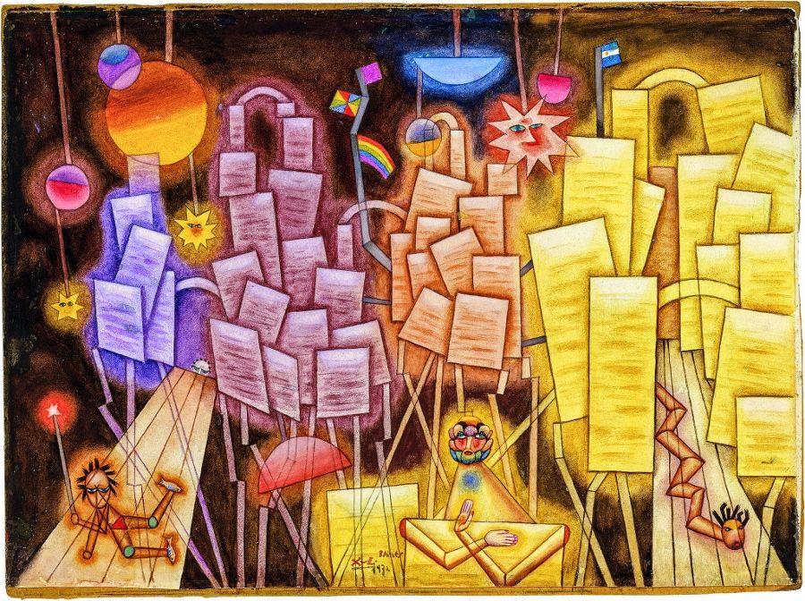 """Alejandro Xul Solar, """"Paisaje"""", 1932. Acuarela y témpera sobre papel sobre cartón, 38,5 x 53,5 cm. Colección Museo Nacional de Bellas Artes. Donación María Luisa Bemberg. Gentileza Fundación Pan Klub - Museo Xul Solar."""