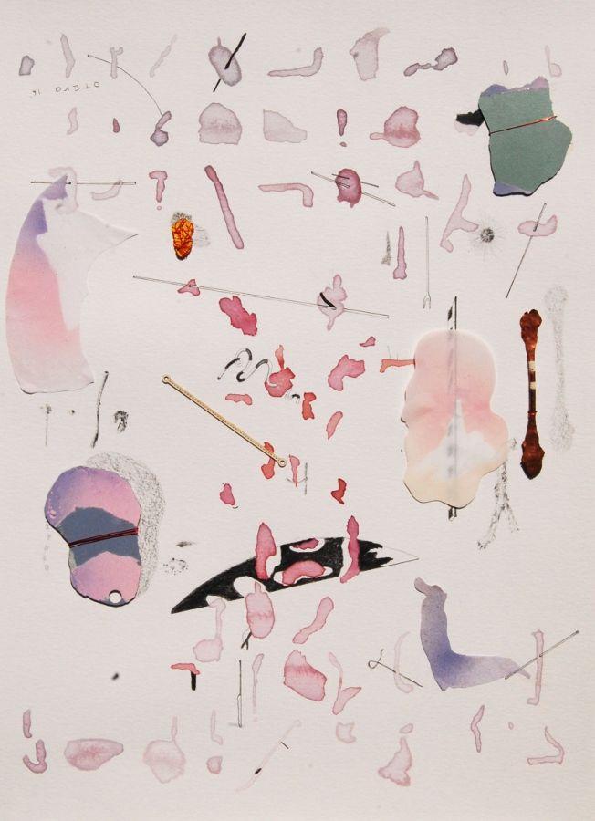 Javier Otero,Sin título, 2016, acuarela, tinta, grafito y objetos sobre papel. Cortesía del artista