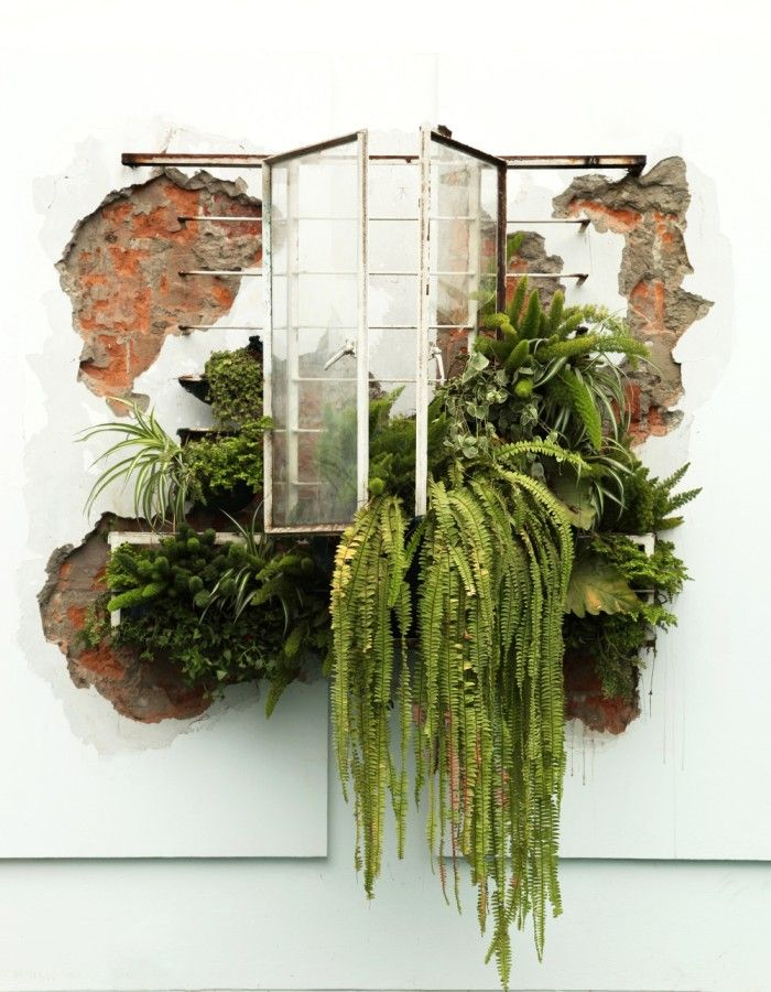 María Inés Agurto Hormazábal, Invasión. Marco de ventana en metal modificado con plantas sobre pared de ladrillo picado, 2.30 x 1.50 x 0.70 mts. Foto: Talía Barreda