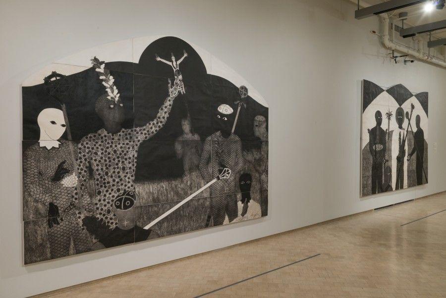 """Vista de la exposición """"Nkame: Una retrospectiva de la grabadora cubana Belkis Ayón"""", en El Museo del barrio, Nueva York, 2017. Foto: Adam Reich"""
