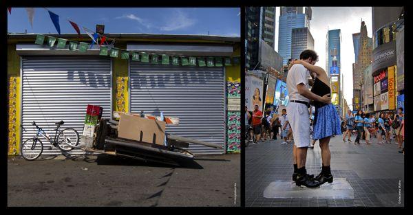 nicoykatiushka, We will survive (a la izquierda), foto: NyK; y Melt (a la derecha), 2011, performances en espacios públicos. Foto: Macarena Molina