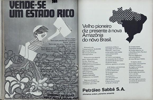 """Izq.: Foto de Claudia Andujar en la revista Realidad (1971). Der.: Publicidad incluida en la misma edición: """"Tierra Virgen. La tierra que necesita ser poseída"""", dice el anuncio del gobierno de Goiás; """"A la Amazonía que va a sustituir la subalimentación, el desempleo, los vacíos inabitados y codiciados, por el progreso, desarrollo, riqueza y bienestar"""", dice el anuncio de Petróleo Sabbá S.A."""