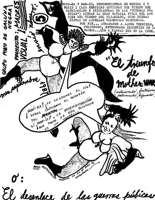 Carta # 5 del proyecto Liberté, egalité, maternité, 1987, autoría del grupo de arte feminista Polvo de Gallina Negra (Mónica Mayer y Maris Bustamante).