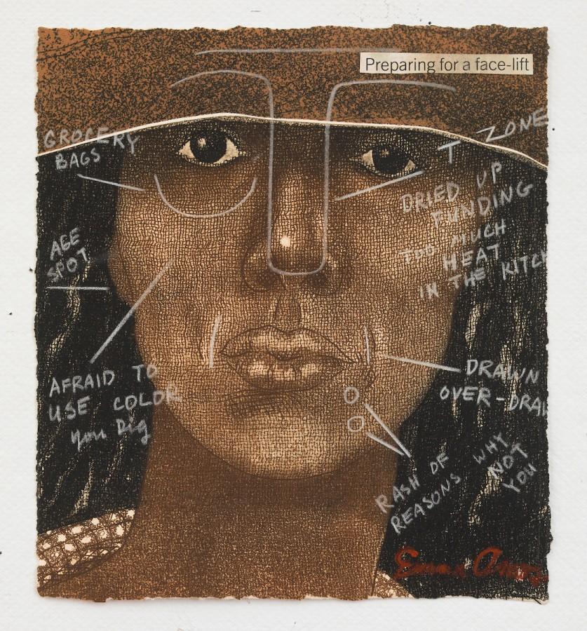 Emma Amos (EEUU, 1938), Preparación para un estiramiento facial, 1981, grabado y crayón, 21 × 19,7 cm. © Emma Amos. Cortesía de la artista y Ryan Lee, Nueva York. Licenciado por VAGA, Nueva York