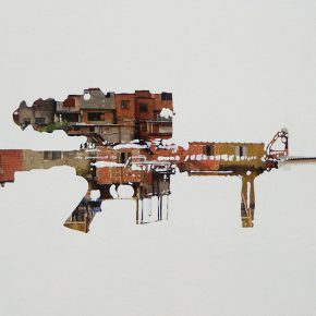 Obra de Pepe López en la muestra colectiva Onomatopeyas visuales de tiempos difíciles, en Carmen Araujo Arte, Caracas. Foto: cortesía de la curadora.