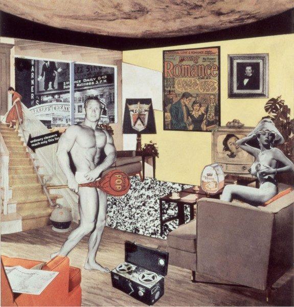 Richard Hamilton, Just what is it that makes today's homes so different, so appealing? (1956), reproducida por Richard Hamilton en 1992, Cibachrome, 26 x 25 cm. Colección particular