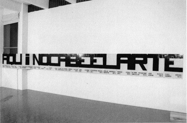 Antonio Caro, Aquí no cabe el arte, 1972-2000, acrílico sobre cartulina, 70 x 112cm. En Dixit Petrobras. Cortesía: Galería Casas Reigner / arteBA