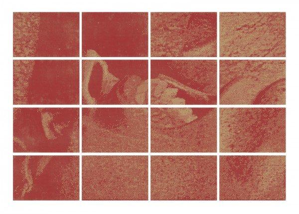 Hudinilson Jr, Zona de Tensão III-D, 1988, fotocopia sobre papel vergê, 20 x 29,5 cm (cada una. Políptico de 16 piezas). Cortesía: Galería Jaqueline Martins
