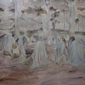 Obra de Carolina Vilches, parte de su muestra Clepsidras, los trabajos y las noches, en Galería Artespacio, Santiago de Chile. Foto: cortesía de la galería.