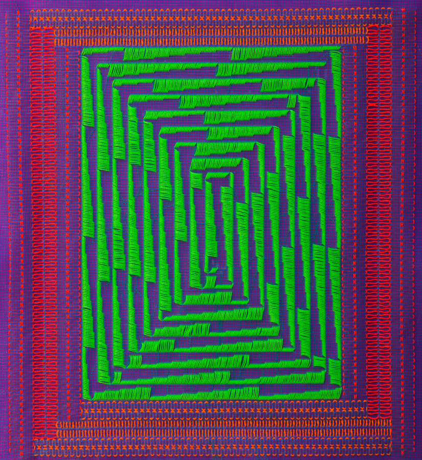 Bernardita Bertelsen, Bordado Plástico #7, 2017. Malla plástica, hilo encerado 50 x 48 cm. Cortesía de la artista