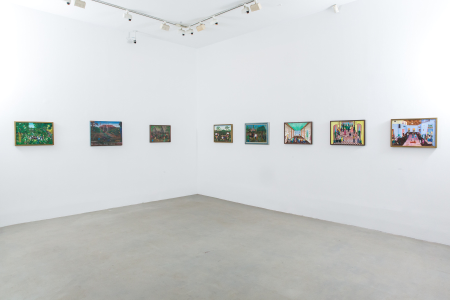 """Pinturas de Solentiname (1965-presente). Vista de la exposición """"Sueño de Solentiname"""" en la 80WSE Gallery, Nueva York, 2017. Cortesía: Hermann Schulz, Ernesto Cardenal"""