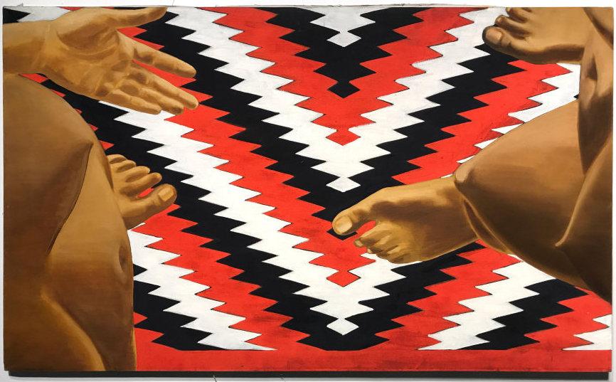 Luchita Hurtado, Sin título, 1970, óleo sobre lienzo, 76.2 x 127 cm. Firmado y fechado en el reverso. Cortesía del artista y Park View / Paul Soto, Los Angeles