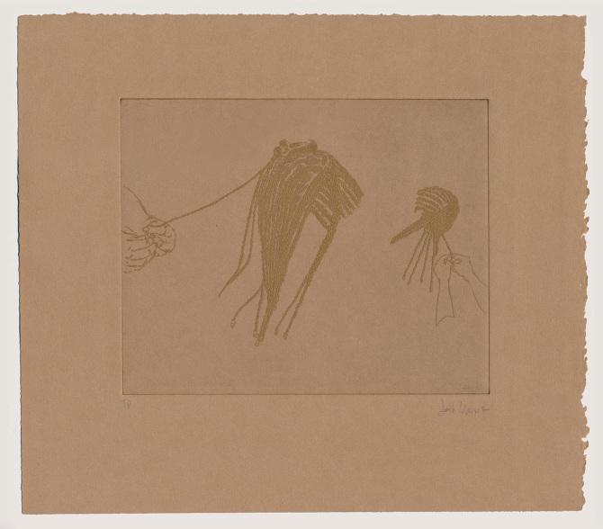 """Joiri Minaya, Grabados Sin título (imágenes extraídas de la búsqueda en Google de """"tropical braiding"""" y """"beach braiding""""), 2016, aguafuerte, tinta dorada sobre papel. Cortesía de la artista"""