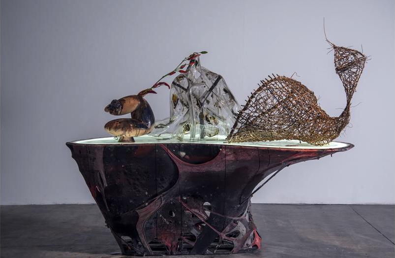 """Vista de la exposición """"Placenta Escarlata"""", de Nicanor Aráoz, en Barro, Buenos Aires, 2018. Foto: Lobo Velar. Cortesía de la galería"""