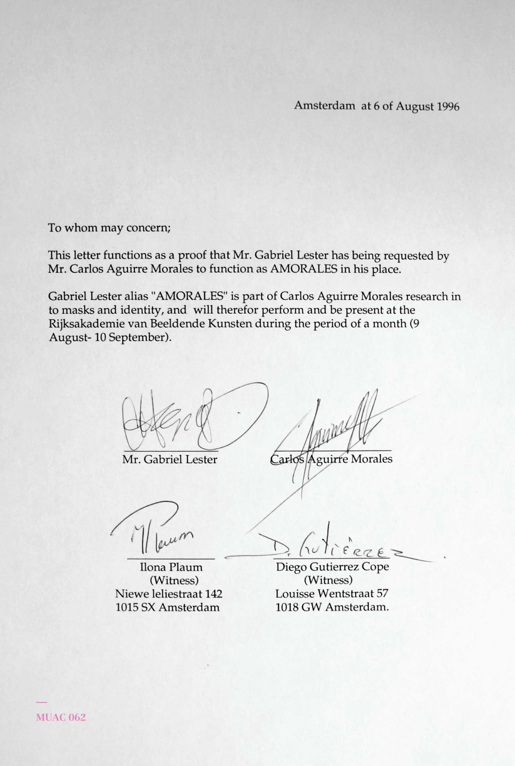 Carlos Amorales, Certificado de préstamo de identidad, 1996, papel A4 mecanografiado y tinta. Colección del artista y kurimanzutto