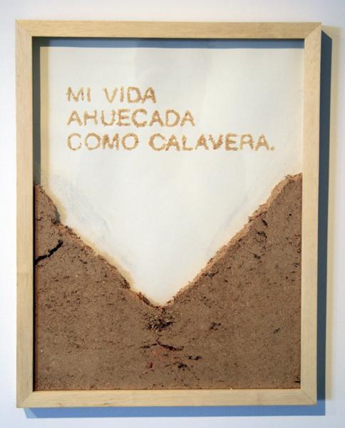 Manuela Viera-Gallo, Calavera, 2013, dibujo en aserrín, 47 x 36 cms. Cortesía de la artista
