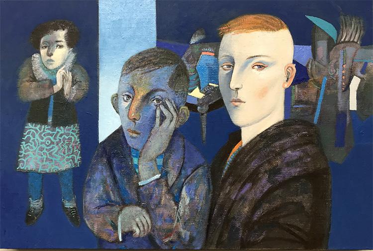 Gonzalo Cienfuegos, Letanías demiurgicas, 2017, óleo sobre tela, 40 × 60 cm. Cortesía: Factoría Santa Rosa/Espora (Santiago)