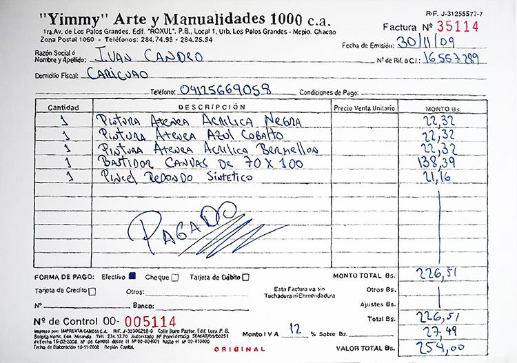 Iván Candeo, Yimmy. Precios de materiales, 2009, acrílico sobre tela, 70 ×100 cm. Cortesía: Carmen Araujo Arte (Caracas)