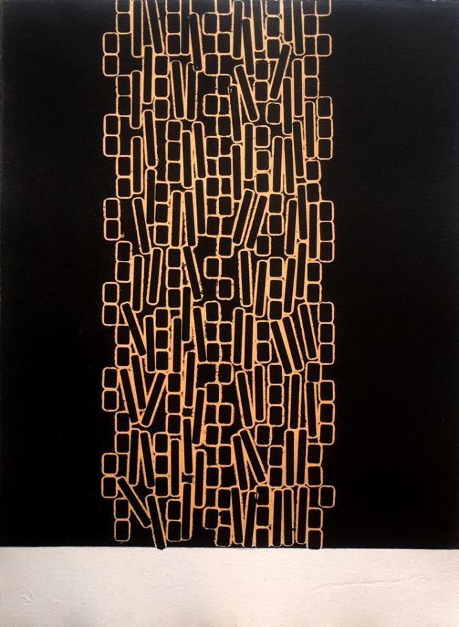 Luis Romero, Serie Q-asar, 2018, monotipo Mono-type, , tinta litográfica sobre papel de algodón, 40 x 30 cm. Cortesía: Alejandra von Hartz, Miami