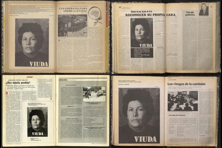 C.A.D.A. Colectivo Acciones de Arte, Viuda, 1985, fotografía, 160 x 236 cm. Cortesía: Isabel Aninat, Santiago de Chile