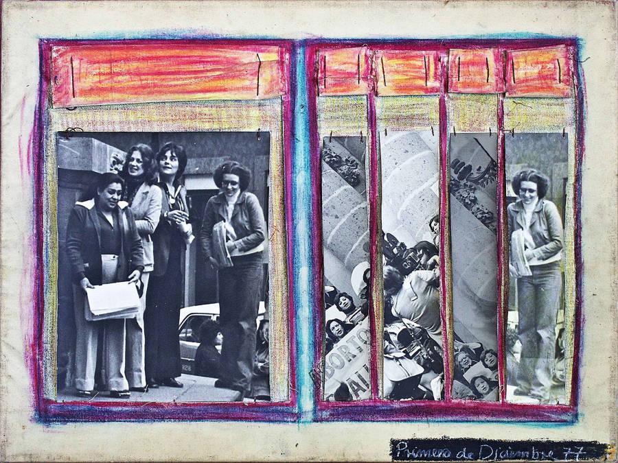 Mónica Mayer, Primero de Diciembre, 1977, técnica mixta, 50 x 80 cm. Cortesía: Walden, Buenos Aires