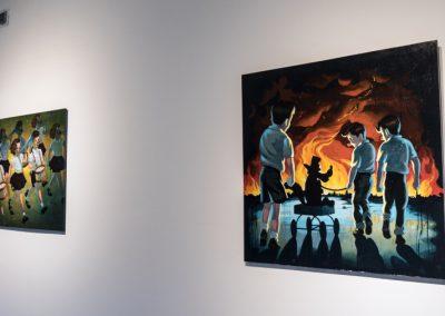 """Obras de Víctor Castillo en la exposición """"Desórdenes Sistémicos. Arte Reciente desde Chile"""", en el Centro Cultural Matta, Buenos Aires, 2018. Foto: Mariella Sola"""