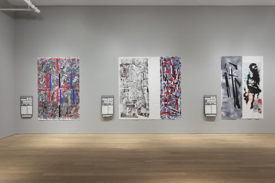 Eugenio Dittborn, Pinturas Aeropostales Recientes, vista de la exposición en Alexander and Bonin, Nueva York, 2018. Foto: Joerg Lohse. Cortesía: Alexander and Bonin, NY