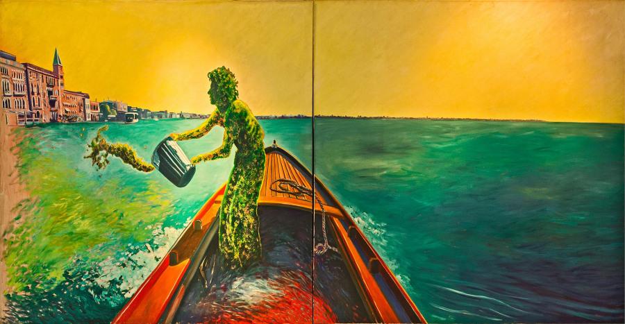 Nicolás García Uriburu, Green Venice (Autorretrato), 1988, óleo sobre tela, 180 x 380 cm. Colección Fundación García Uriburu. © Nicolás García Uriburu, reproducido bajo permiso.