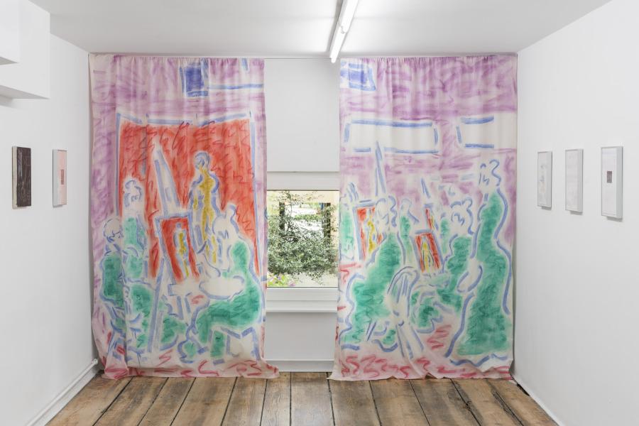 Cosima zu Knyphausen, The drapes were light, 2018, pastel on cotton, 220 x 300 cm. Courtesy: stadium, Berlin