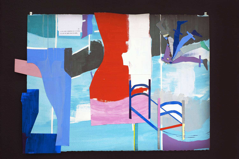 Grace Weinrib, La cama, 2018, gouache, papel, collage, encuadernador, 59 x 81 cm. Foto: Esteban Vargas Roa. Cortesía de la artista y Die Ecke Arte Contemporáneo, Santiago