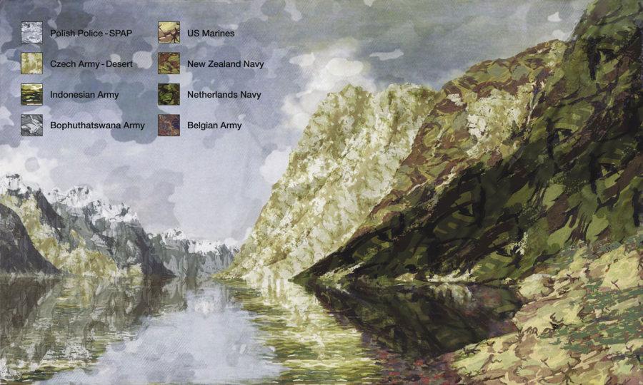 Mateo Maté, Paisaje uniformado 13 (Adelsteen Normann: Sogne Fjord Norway), 2008, impresión en tela sobre bastidor y marco, 102 x 170 cm, 5 ejemplares. Cortesía: Galería Aninat, Santiago de Chile