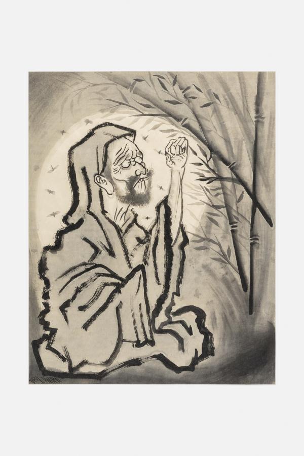 Dr. Lakra, Sin título, 2017, tinta china sobre papel japonés, 56 x 43.5 cm (sin marco); 63 x 51 x 4.5 cm (con marco). Cortesía del artista y kurimanzutto