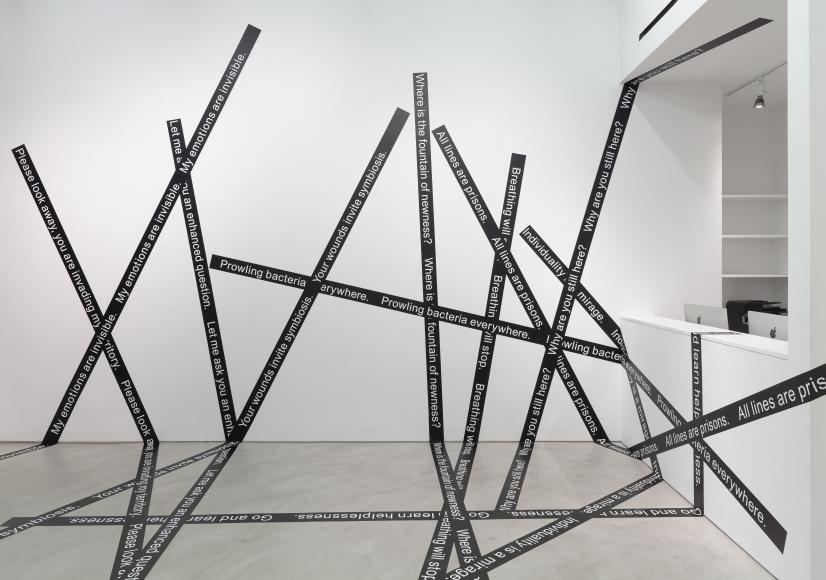 Luis Camnitzer, Please Look Away, 2015, vinilo adhesivo, dimensiones variables. Cortesía: Alexander Gray Associates, Nueva York
