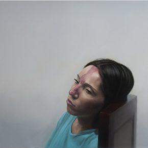 Nelson Hernández, Mujer sentada en una silla, 2018, óleo sobre tela, 100 x 100 cm. Cortesía del artista
