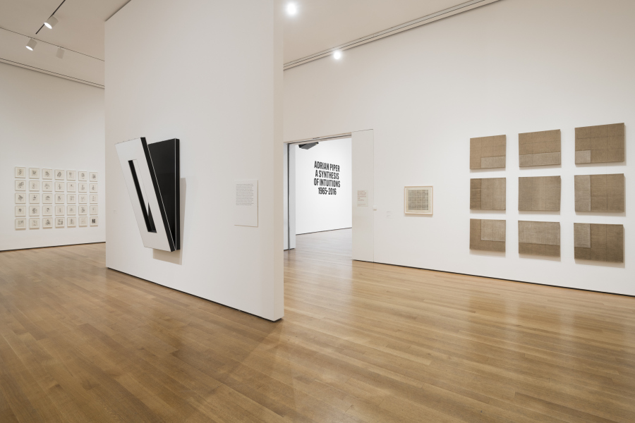 """Vista de la exposición """"Adrian Piper: A Synthesis of Intuitions, 1965–2016"""", en el Museum of Modern Art (MoMA), Nueva York, 2018. © 2018 The Museum of Modern Art. Foto: Martin Seck."""