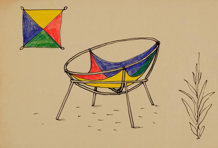 Lina Bo Bardi, Proyecto para una versión del sillón Bardi's Bowl, 1951, lápiz, tinta china, y tiza grasa sobre papel offset, 21,4 x 31,4 cm. Instituto Bardi/Casa de Vidrio, Sao Paulo
