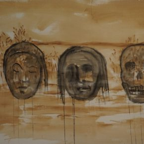 Juan Castillo, S/T, 2018, reducción de té, tinta china y pintura en aerosol sobre tela. Cortesía del artista y Galería Isabel Aninat