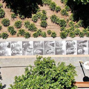 Vista área del proyecto Inside Out, del artista JR, en su primera presentación en Santiago, como parte del programa Ch. ACO en la Calle, Feria Ch.ACO, 2018. Foto: Gonzalo Zúñiga