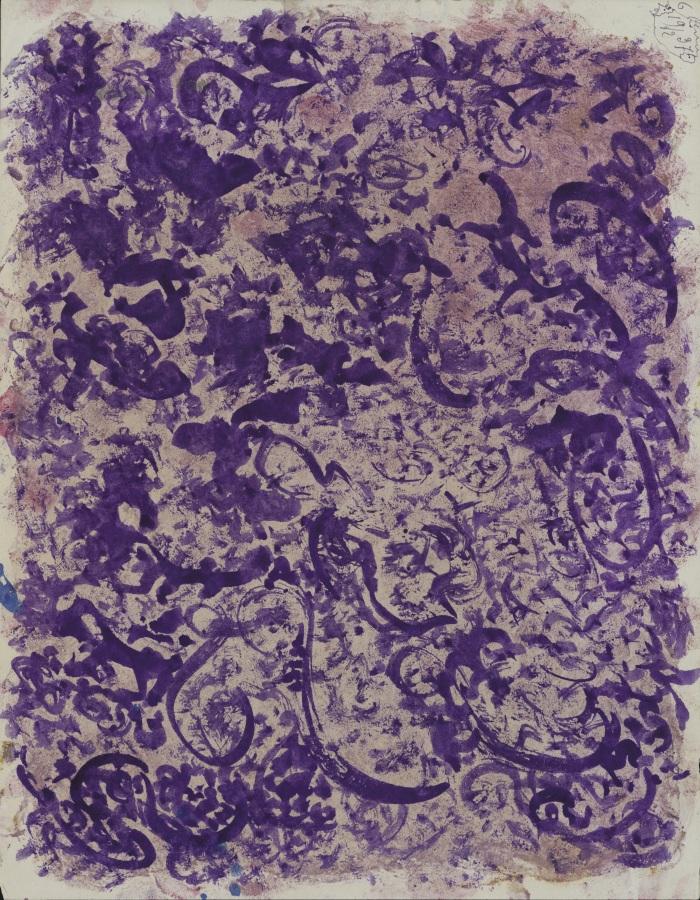Jeanne Tripier, Sin título, 19 febrero 1937, tinta y tierra de Siena sobre papel, 21 x 27 cm. Foto: Amélie Blanc, Atelier de numérisation – Ville de Lausanne. Collection de l'Art Brut, Lausana