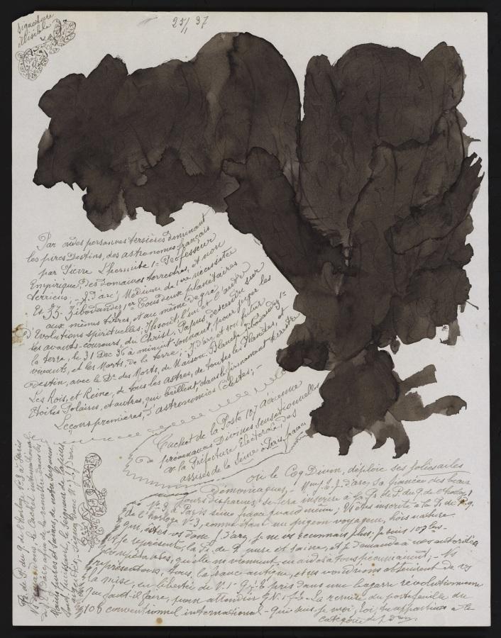Jeanne Tripier, Sin título, 25 enero 1937, tinta sobre papel, 27 x 21 cm. Foto: Jean-Marie Almonte, Atelier de numérisation – Ville de Lausanne. Collection de l'Art Brut, Lausana