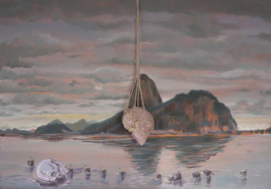 Alberto Baraya, Pan de azúcar desde Botafogo, 2018, óleo sobre tela, 35 x 50 cm. Cortesía del artista y Galeria Nara Roesler