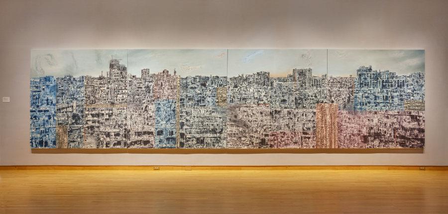 """Jorge Tacla, Señal de abandono 34 (Homs), 2018. Vista de la instalación en """"The Visible Turn"""", USF Contemporary Art Museum, Tampa, Florida, EEUU, 2019. Foto: Will Lytch"""